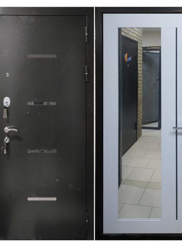 Дверь входная «СТЕЛС БЕЛЫЙ СНЕГ», ЗЕРКАЛО, ЮДМ